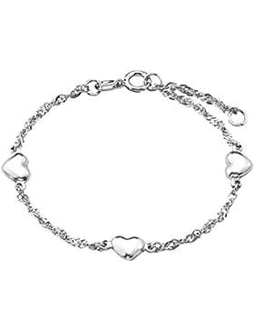 Amor Kinder-Armband Singapur Herzen Mädchen 925 Sterling Silber rhodiniert glänzend 14 cm - 81399