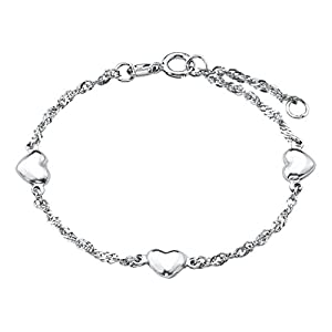 amor Kinder-Armband mit Herzen aus 925 Sterling-Silber, längenverstellbar (12 + 2 cm)