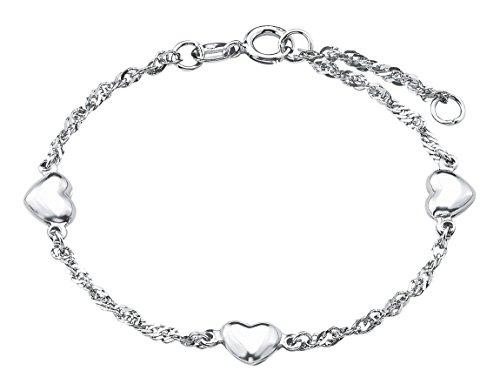 Amor Kinder-Armband Singapur längenverstellbar Herzen Mädchen 925 Sterling Silber 12 + 2 cm