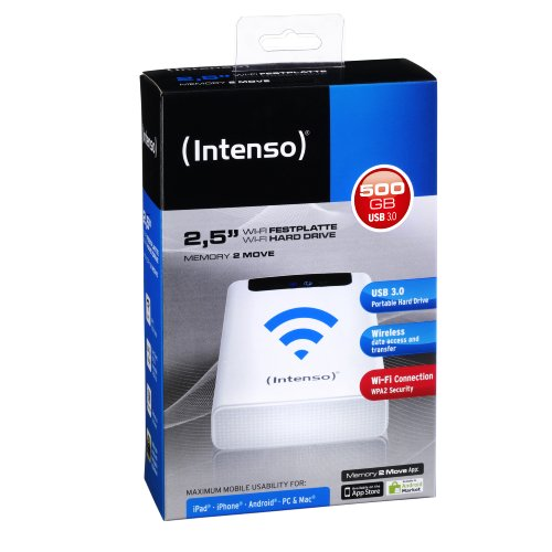 Intenso Memory 2 Move 500GB externe Festplatte mit WiFi (6,4 cm (2,5 Zoll) 5400rpm, 8MB Cache, USB 3.0) weiß