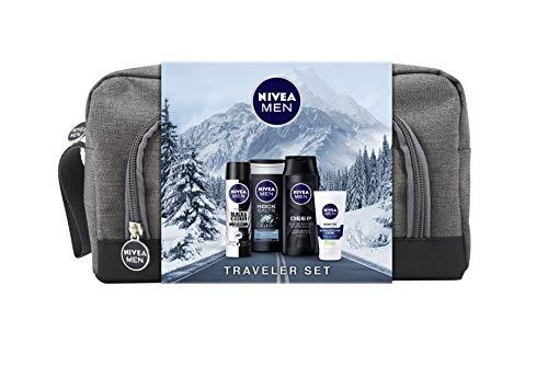 NIVEA MEN Traveler Geschenkset, Kulturtasche für Männer mit Anti-Transpirant, Pflegedusche, Pflegeshampoo und Gesichtspflege Creme, Weihnachtsgeschenke Set für den gepflegten Mann