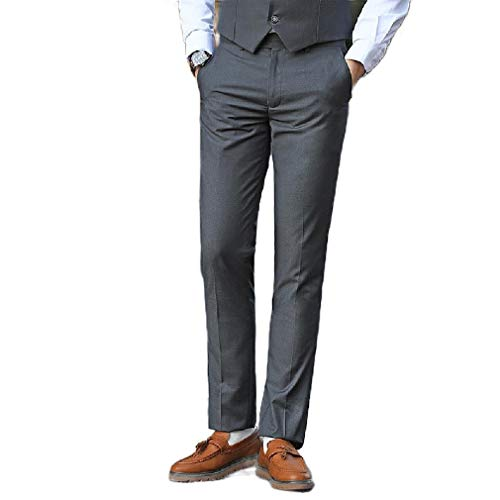 CuteRose Men's Wrinkle-Free Tapered Relaxed-Fit Business Casual Pants Grey 31 Free Flat Front Pant