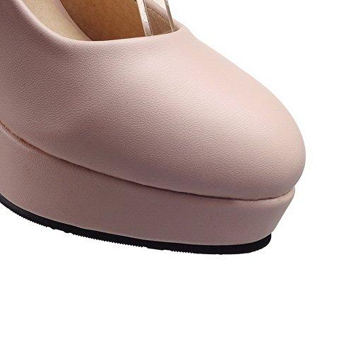 VogueZone009 Donna Tacco Alto Luccichio Puro Fibbia Punta Tonda Ballet-Flats Rosa