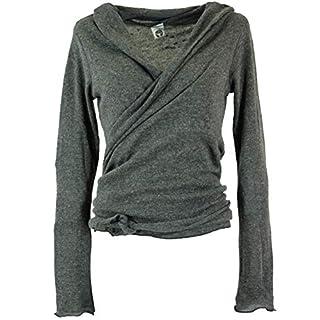 Guru-Shop Wickelshirt, Baumwollstrick Pullover, Damen, Granitgrau, Viskose, Size:38, Pullover, Longsleeves & Sweatshirts Alternative Bekleidung