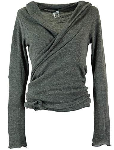 Guru-Shop Wickelshirt, Baumwollstrick Pullover, Damen, Granitgrau, Baumwolle, Size:38, Pullover, Longsleeves & Sweatshirts Alternative Bekleidung