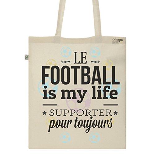 Tote Bag Imprimé Ecru - Toile en coton bio - Football is my life