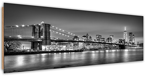 Feeby Frames, Tableau Mural, Tableau Déco, Tableau imprimé, Tableau Deco Panel, Panoramique 50x100 cm, Blanc, Gratte-Ciel, IMMEUBLES, Architecture, Eau, Noir Pont DE Brooklyn, À New York