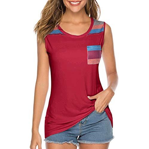 T-Shirt da Donna Vendita Casual Senza Maniche/Maniche Corte/Maniche Lunghe Loose Tunica Tops Smaglia con Tasca(Rosso,x-Large)