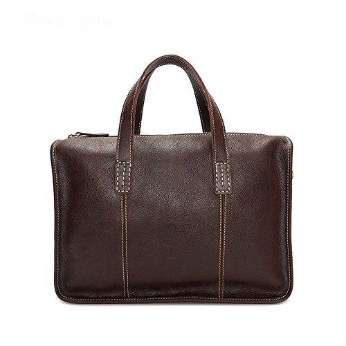 """DNSJB Herren-Aktentasche aus Leder Kleine Schultertasche Messenger Bag Retro Crossbody 13 """"Laptop-Handtasche (Farbe : Kaffee - Farbe)"""