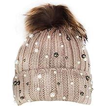 Caldo Cappellino da Donna 1st American con Perle e PON PON murmasky - Berretto  Invernale a9796e3cec4a