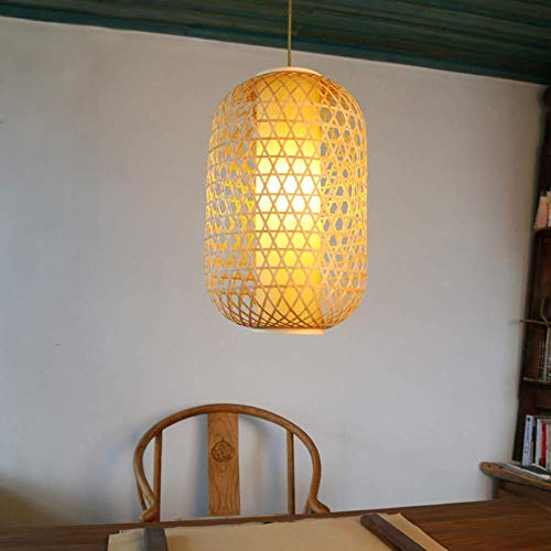 ▶ * Bambus-Kunst-Pendelleuchte Einfache Bambuslaternen Kleiner Kronleuchter Restaurant Cafe Benutzerdefinierte Kreative Teestube Zen E27 Hängelampe Kette Einstellbar Edison E27 Deckenleuchte ◀