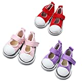 Fully 3 Paare Canvas Puppen Schuhe Turnschuhe Ebeneschuhe 5CM/1.96' für 14 Zoll Stehpuppen Puppen