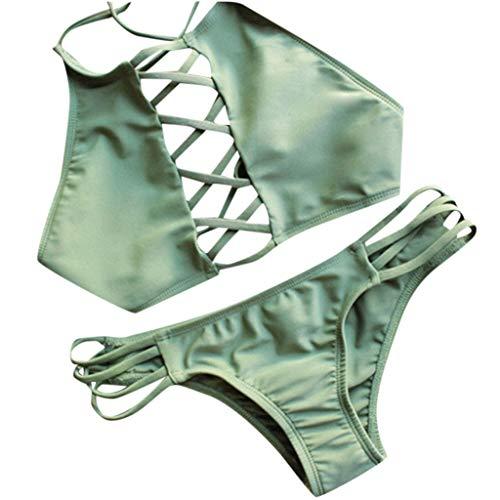 UJUNAOR Bikini Donna Mare Due Pezzi Costume da Bagno Sexy Bandage Vita Alta 2019 Nuovo(Small,Verde)