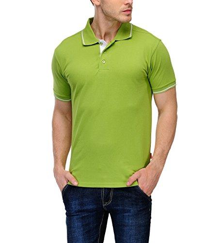 Scott International Men's Cotton Polo T-shirt (Apple Green, XL)