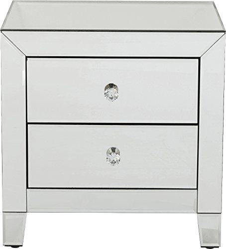 Nachttisch Kommode Spiegel (Kare Design Kommode Luxury 2 Schübe, Nachttisch mit 2 Schubladen, verspiegelte Konsole, Spiegeltisch (H/B/T) 50x49x41cm)