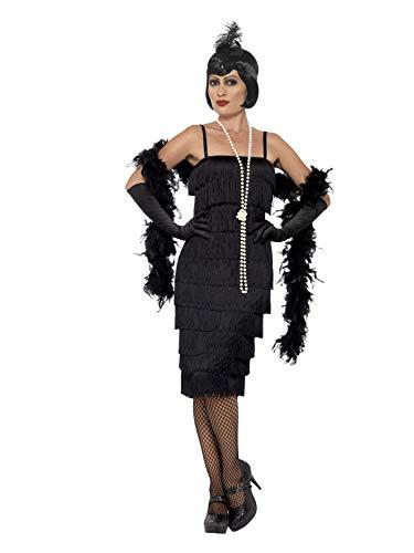 Smiffys 45502M, Damen Flapper Kostüm Langes Kleid Haarband und Handschuhe,schwarz,40-42(Herstellergröße:M) (20er Kleid Schwarz Jahre)