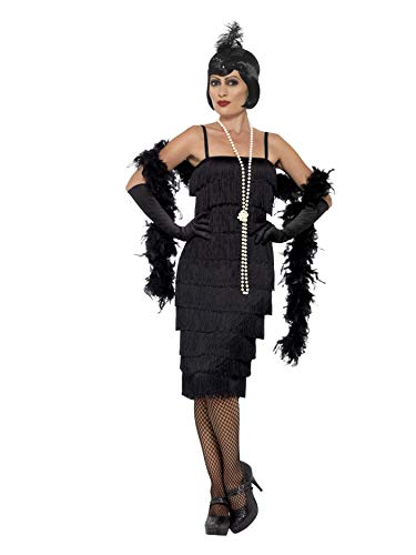 flapper kostuem Smiffys 45502M - Damen Flapper Kostüm, Langes Kleid, Haarband und Handschuhe, Größe: 40-42, schwarz