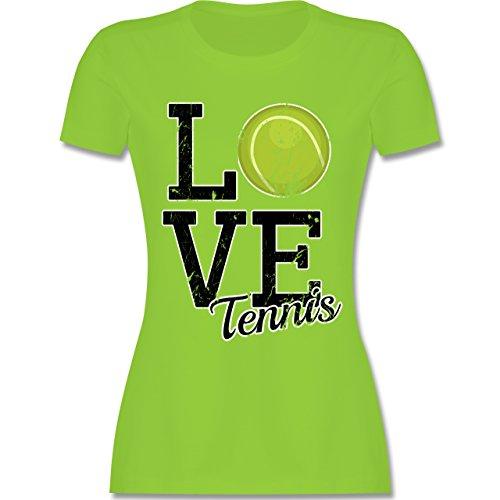 Tennis - Love Tennis - tailliertes Premium T-Shirt mit Rundhalsausschnitt  für Damen Hellgrün