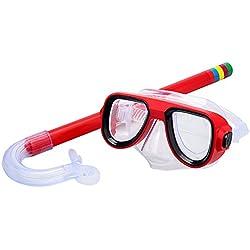 BEAUTOP Kit de plongée pour enfants avec masque anti-buée et tuba, Red, 1x1x1cm
