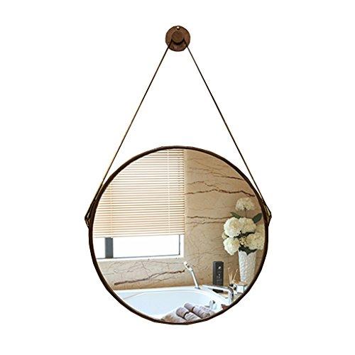 LEI ZE JUN UK- Spiegel European Leather Belt Round Badezimmer Bronze Villa Modern Einfache Wand-Spiegel Anti-Fog WC Waschbecken Spiegel Wandspiegel (Farbe : Weiß)