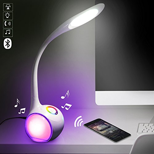 Bakaji lampada cassa altoparlanti speaker bluetooth da tavolo con luci a led di atmosfera touch con ingresso usb per chiavetta microfono e ricarica telefono akai (bianco)
