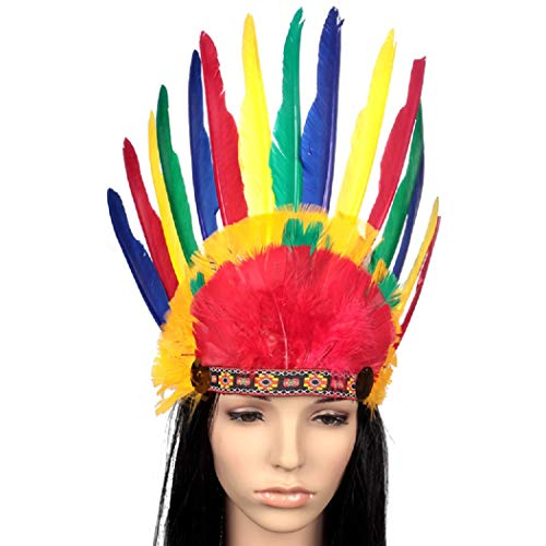 Mishiner Indian Chief Bunte Federn Hut Kopfschmuck Kopfbedeckung für Halloween Cosplay Performance Requisiten
