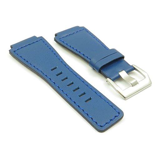 strapsco blau echt Leder Watch Band für Bell & Ross Größe 24mm