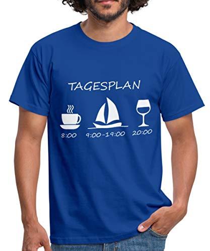 Spreadshirt Segeln Tagesplan Kaffee Segelschiff Wein Männer T-Shirt, M, Royalblau