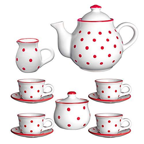 City to Cottage   Service à thé pour Quatre   Blanc à Pois Rouges en céramique Fait et Peint à la Main   Grande théière 1,7L 4-6 Tasses, Pot à Lait, sucrier, Quatre Tasses et sous Tasses