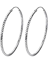 "J.SHINE Damen Creolen 925 Sterling Silber Ohrringe Set Mode Schmuck ""Himmel Sterne"" mit Etui Dicke 2mm Durchmesser 45mm"
