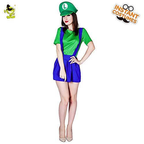 Super Kostüm Mario Girl - GAOGUAIG AA Neue Damen Grün und Blau Super Mario Kostüm mit Party Karneval Hut Amüsiert Mario Girl Dekoration SD (Color : Onecolor, Size : Onesize)