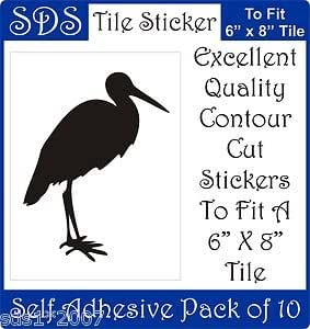 "Smarts-Art 6"" X 8"" Decorative Bird Tile Transfers Stickers Self Adhesive Pack 10 Any Use - Bubble Gum Pink - Storks"