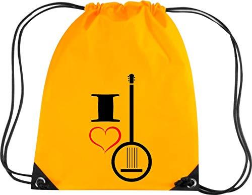 Shirtstown Premium Gymsac Musik I Love Banjo, Gold