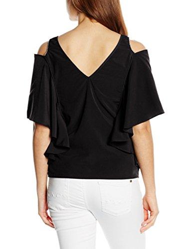 Morgan Opool - T-shirt - Uni - Col V - Manches courtes - Femme Noir
