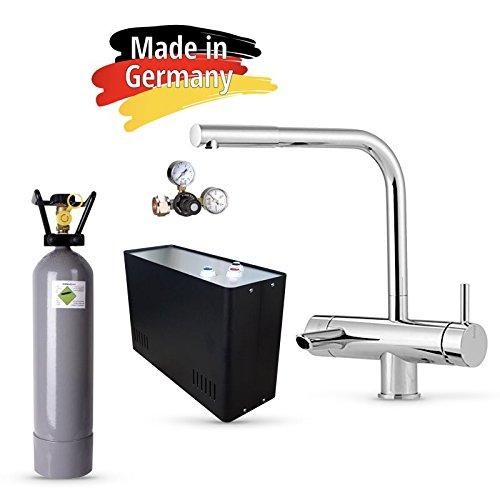 Sprudel aus dem Wasserhahn! Untertisch-Trinkwassersystem - Trinkwassersprudler Sprudel-Lok - NEUHEIT! inkl. 3-Wege-Zusatzarmatur MORA + Eigentumsflasche CO2 6 kg und Anschluss-Set. Made in Germany
