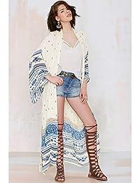 Being Global Women Chiffon Kimono Cardigan Bikini Cover Up Printed Boho Long Loose Casual Beach Robe Blouse Top Blue