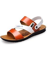Herren Rund Toe Baotou Sandalen Leichte Bequeme Sommer Atmungsaktive Klettverschluss Schnalle Sandaletten Gelb 39 EU
