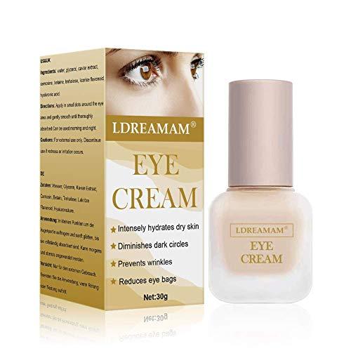 Antialterung Augencreme, Augenserum, Anti-Aging Augenfaltencreme mit Hyaluronsäure und Vitamin C, Behandlung für dunkle Augenringe, Schwellungen und Fältchen