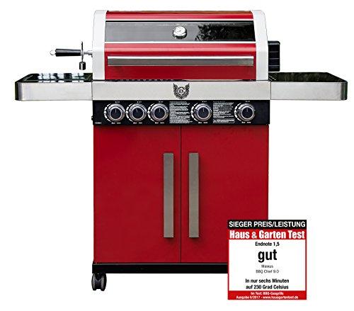 BBQ Chief Gasgrill 9.0 | Testsieger bei Haus & Garten | Motor Drehspieß | 4 Edelstahlbrenner 14kW | Glaseinsatz (Stahl - Rot)
