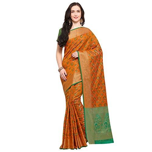 Janasya Women's Mustard Silk Patola Saree With Unstitched Blouse (SR030-10541-MUSTARD)