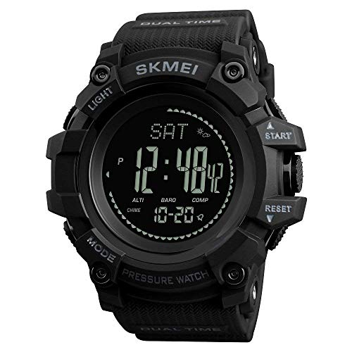 Reloj de Pulsera para Hombre con brújula Deportiva, retroiluminado, podómetro, calorías, Reloj Digital, Escalada, barómetro, termómetro ...