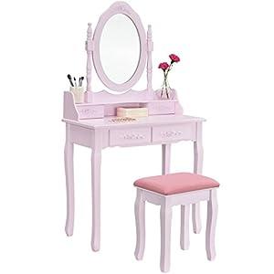ArtLife Schminktisch Mira rosa mit Spiegel, Hocker & Hocker | Holz Kosmetiktisch | 75 x 40 x 141 cm | Landhausstil | Frisiertisch für Frauen & Mädchen