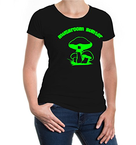 buXsbaum® Girlie T-Shirt Mushroom Hunter Black-Neongreen