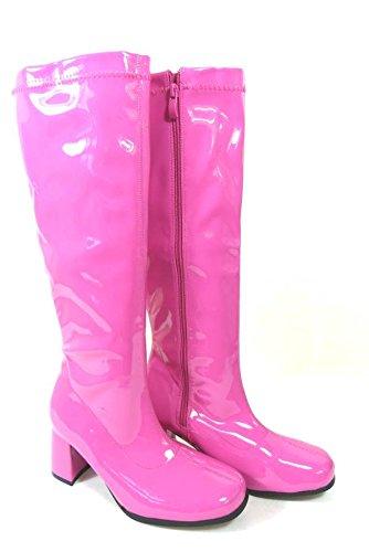 Bottes de go-go pour femme Pour déguisement années 1960/70 Style Rétro rose vif