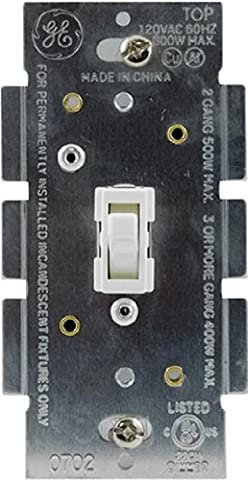 GE Dimmer, Single Pole, Toggle On/Off, White 18025 by GE
