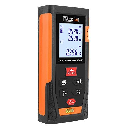Tacklife HD 100 Klassischer Laser-Entfernungsmesser Distanzmessgerät(Messbreich 0,05~100m/±2mm mit 2 Level Blasen Messinheit m / in / ft mit Hintergrundbeleuchtung ) Schwarz-Orange