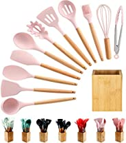 Silicone Cooking Utensils Kitchen Utensil Set - 12 Pcs Wooden Handles Cooking Tools Turner Tongs Spatulas Spoo