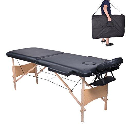 Pawstory Massageliege 2 Zonen Holz Klappbar Tragbar Massagetisch Faltbar Leicht Deluxe Massage Bett Höhenverstellbar Spa Reiki Tattoo mit Armlehne Kopfstütze Tasche Schwarz -