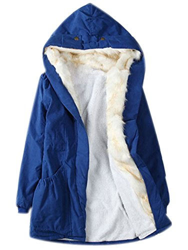 Fell Mit Mantel Damen Xl Für (Damen Winterparka Parka Mantel Winter Damen Jacke 2017 Warme Winterjacke Steppjacke Lange Winterjacken Parka Faux Fell Mäntel Blau XL)
