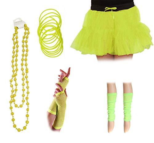 Jahre 1980er Kinder Kostüm - Crazy Chic Damen Mädchen Neon-Tutu Röcke Beinstulpen Fischnetz-Handschuhe Halskette Perlen 5-teiliges Set 1980er Jahre Kostüm Zubehör Gr. Einheitsgröße, gelb